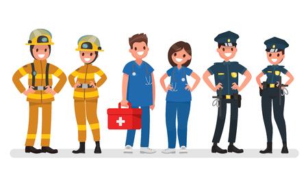 Policja, ogień i karetka pogotowia Usługi awaryjne Ilustracji wektorowych w płaskim stylu