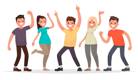 Happy group of young people. Vector illustration in a flat style
