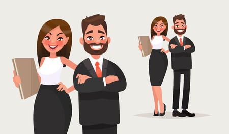 Business people. Couple of office workers. Vector illustration in cartoon style Çizim