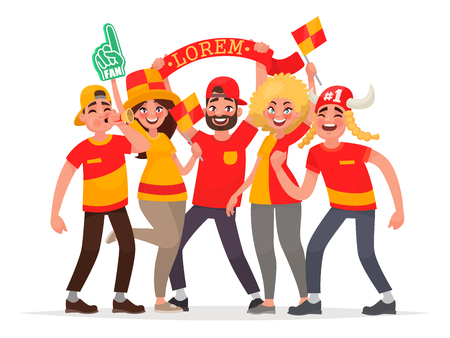 Happy fans are cheering for their team. A group of people supports athletes. Vector illustration in cartoon style. Ilustrace