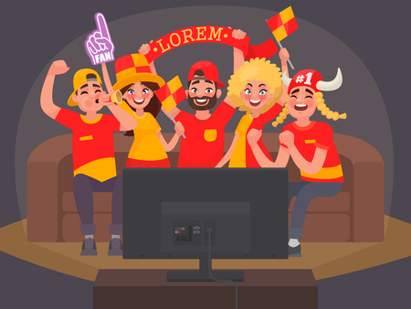 Fans watching the live broadcast of the match on TV and cheer for their team. Vector illustration in cartoon style.