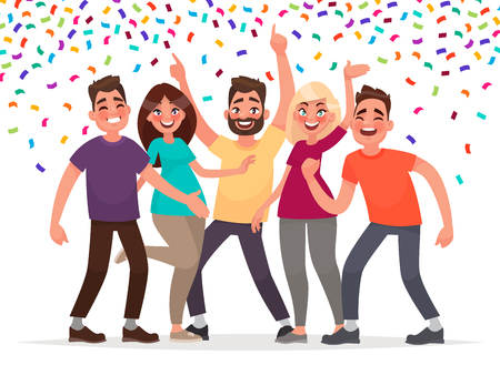 Happy people celebrate an important event. Joyful emotions. Vector illustration in cartoon style. Çizim