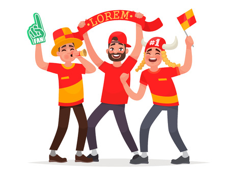 Guys fans cheer for their soccer team. Vector illustration in cartoon style.