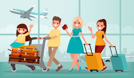 Happy family in airport terminal. Vector illustration in a flat style Stock Illustratie