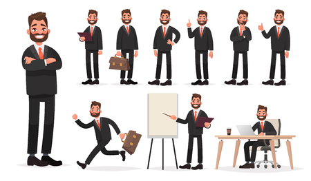 Happy businessman. A character set of an office worker man in various poses and situations. Illusztráció