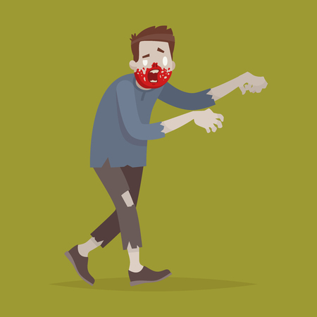 A scary zombie man on an isolated background. Vector illustration in a flat style