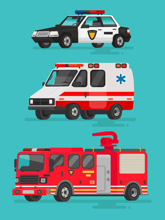 Set of emergency vehicles. Police car, ambulance and fire truck Illustration