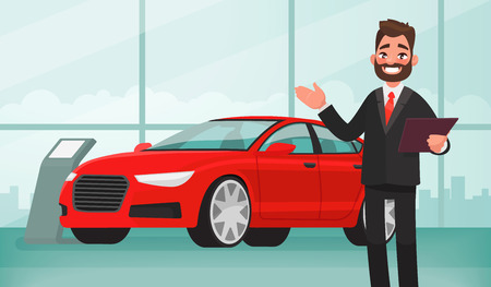 Venta de un auto nuevo. El vendedor en la sala de exposición del automóvil muestra el vehículo. Ilustración vectorial en estilo de dibujos animados Ilustración de vector