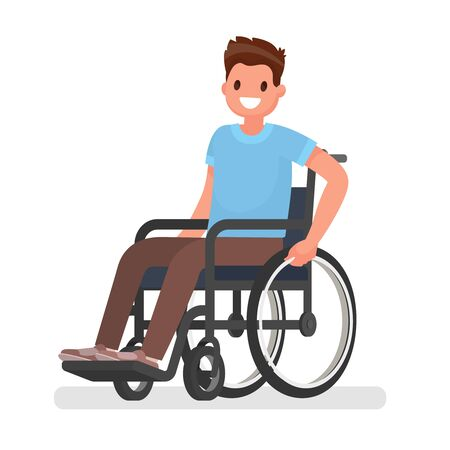 Man is sitting in a wheelchair on a white background. Vector illustration in a flat style Stock Photo