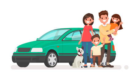 Happy family with a car on a white background. Vector illustration in a flat style