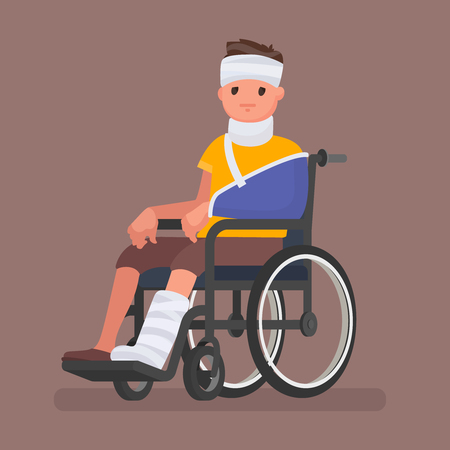 A sick man with injuries and gypsum sits in a wheelchair. Vector illustration in a flat style Stock Photo