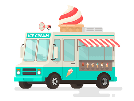 Ice cream truck on white background. Vector illustration in a flat style Reklamní fotografie