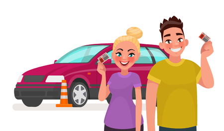 Driving school. Students with a driving license and a training car. Vector illustration in cartoon style