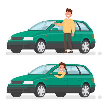 Uomo e auto. Un felice acquirente di un nuovo veicolo. Illustrazione vettoriale in uno stile piatto