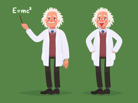 A cartoon portrait of Albert Einstein. Vector illustration