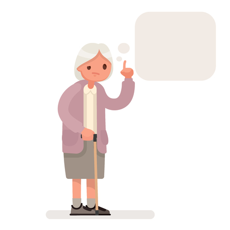 Grandmother speaks a speech bubble. Vector illustration in a flat style
