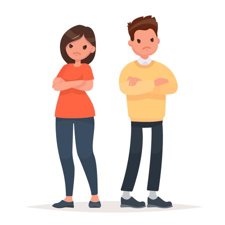 Pelea familiar. Infeliz pareja. Conflicto en las relaciones, desacuerdos. Un hombre y una mujer están enojados el uno con el otro. Ilustración de vector en un estilo plano