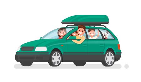 La familia feliz va en coche de vacaciones. Padre, madre, hijo, hija y perro van de viaje. Ilustración de vector en un estilo plano