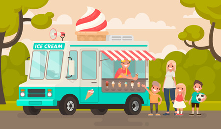 Children and an ice cream truck in the park. Vector illustration in a flat style Ilustrace