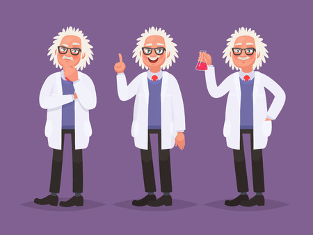 Character set of a scientist. Discovery in science. Vector illustration in cartoon style Illustration