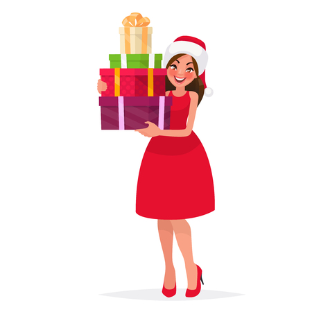 Beautiful woman dressed in a christmas hat and a red dress is holding presents. New Year sales. Vector illustration in cartoon style