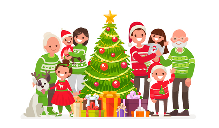 Big happy family and Christmas tree with gifts. Vector illustration in a flat style