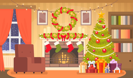 Christmas interior of the living room with a Christmas tree, gifts and a fireplace. Vector illustration in a flat style Illustration