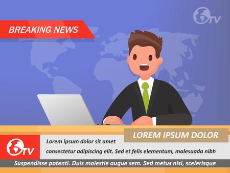 News Anchor à la télévision Dernières nouvelles. Illustration vectorielle dans un style plat
