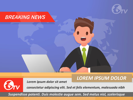 News Anchor on TV Breaking News. Vector illustration in a flat style
