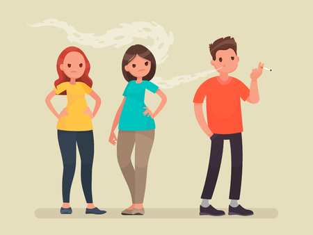 Concept of passive smoking. Discontent non-smoking people. Vector illustration in a flat style Illustration