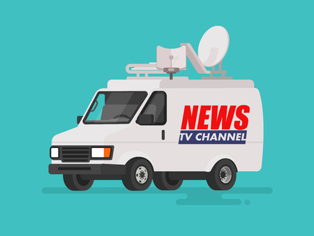 屋根上の機器とテレビのニュース車。孤立した背景にバンします。フラット スタイルのベクトル図
