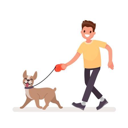 L'homme marche avec un chien. Illustration vectorielle dans un style plat Vecteurs