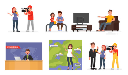 Mass media. A set of characters, leading news and journalists, people reading the news on the Internet and the person who watches TV. Vector illustration in a flat style