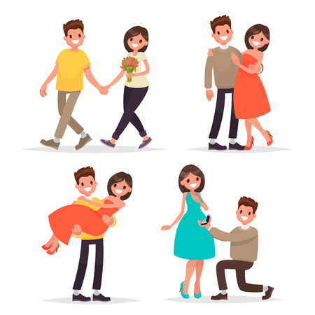 Set of a loving couple man and woman. Walk, a declaration of love and hugs. Vector illustration in a flat style