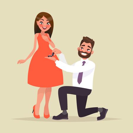 Una oferta de matrimonio. El hombre propone a una mujer casarse con él y le da un anillo de compromiso. Ilustración de vector en estilo de dibujos animados