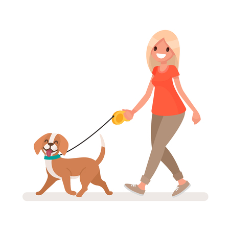 Woman is walking with a dog. Vector illustration in a flat style