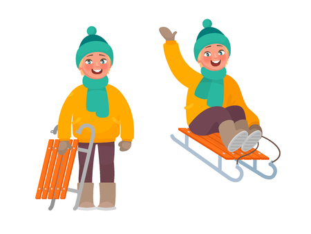 Active rest in winter. The boy is riding a sled. Vector illustration in cartoon style