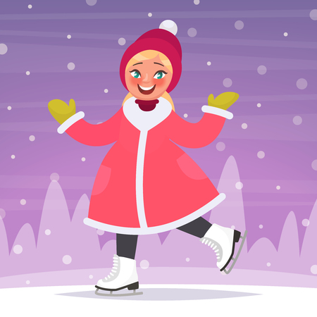 Happy girl  ice skates on a skating rink in the background of a winter landscape. Vector illustration in cartoon style