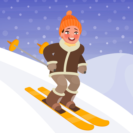 Boy is skiing from the mountain. Winter sports and outdoor activities. Vector illustration in cartoon style