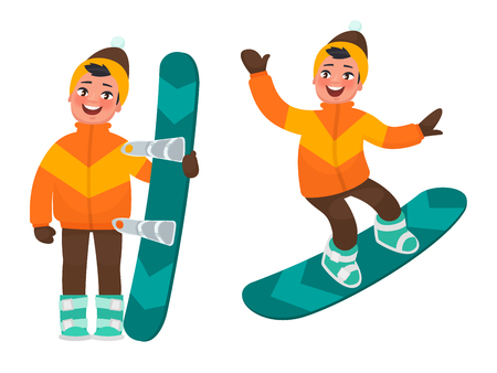 Active rest in winter. The boy is snowboarding. Vector illustration in cartoon style
