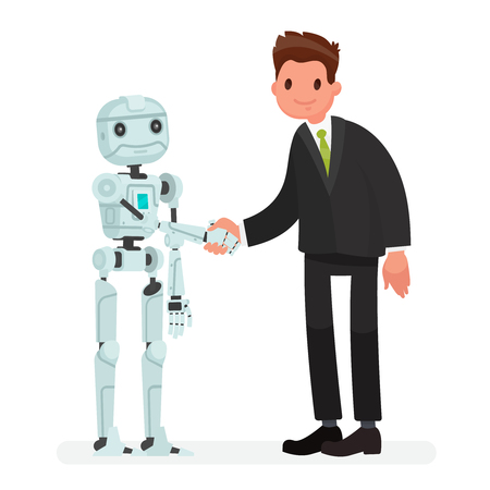 Handshake of man and robot. The concept of partnership between humanity and robotic technology and artificial intelligence. Vector illustration in a flat style