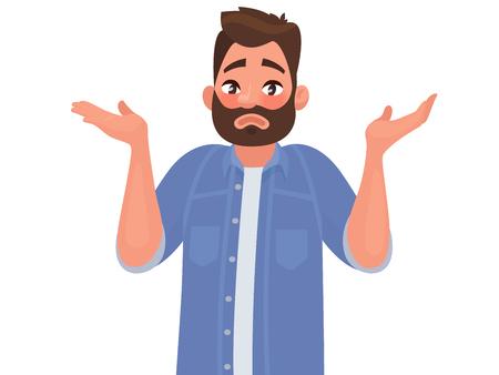 Gesto oops, desculpe ou não sei. O homem encolhe os ombros e abre as mãos. Ilustração vetorial no estilo cartoon Foto de archivo - 92335326