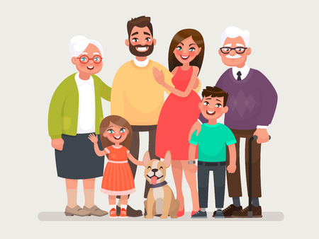 Happy family. Father, mother, grandmother, grandfather and children with a pet. Vector illustration of a cartoon style  イラスト・ベクター素材