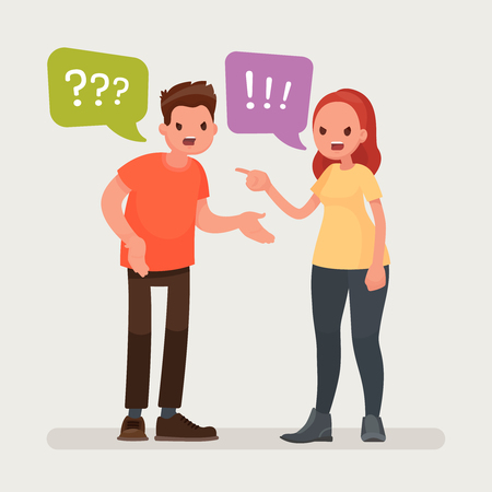 Conflict. A man and a woman quarrel. Vector illustration in a flat style Иллюстрация