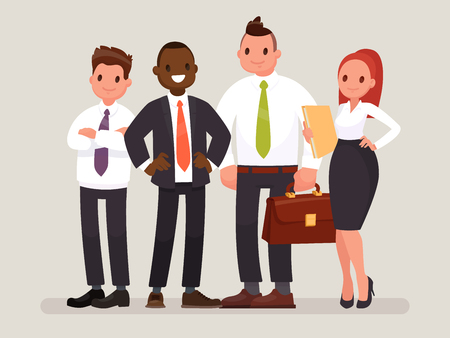 Business team. A group of office workers headed by a chief. Vector illustration in a flat style Ilustrace