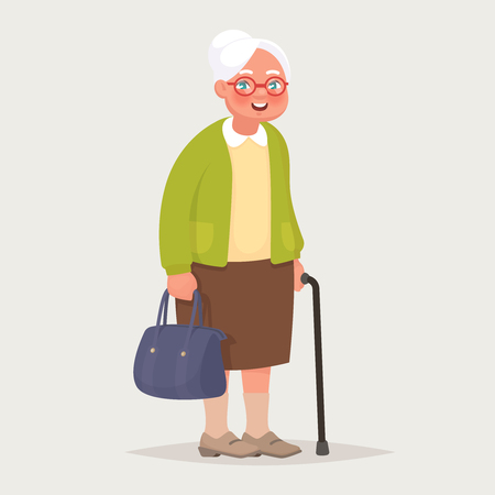 Grandmother wearing glasses. An elderly woman with a bag and a cane in her hands. Vector illustration in cartoon style