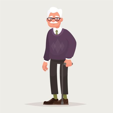 Abuelo con gafas. Un anciano con un bastón en las manos. Ilustración vectorial en estilo de dibujos animados