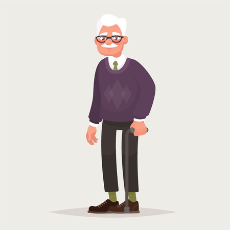 Grandfather wearing glasses. An elderly man with a cane in his hands. Vector illustration in cartoon style Vettoriali
