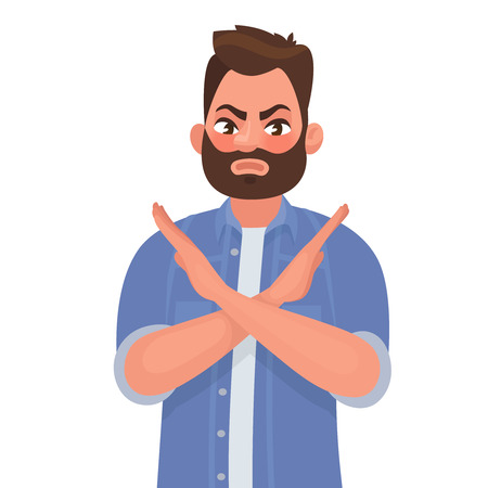 Man shows a gesture no or stop vector illustration in cartoon style.