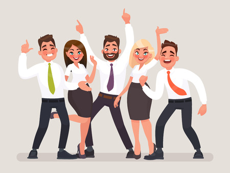 Successful business team. A group of happy office workers celebrating the victory. People with their hands up vector illustration in cartoon style. Vettoriali